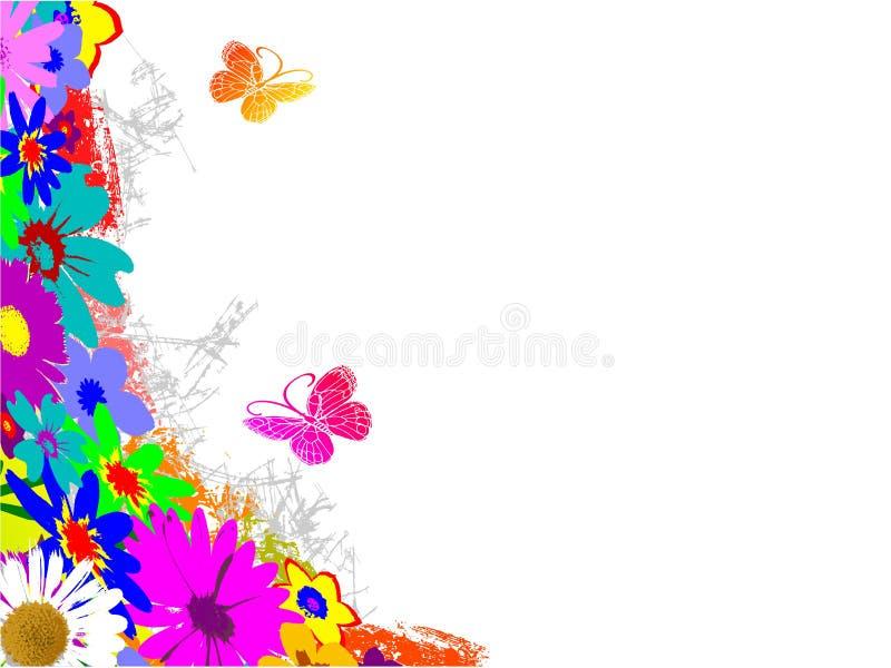 grunge бабочек предпосылки флористическое иллюстрация вектора