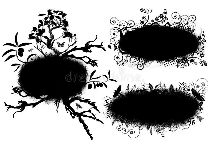 grunge знамен флористическое иллюстрация штока