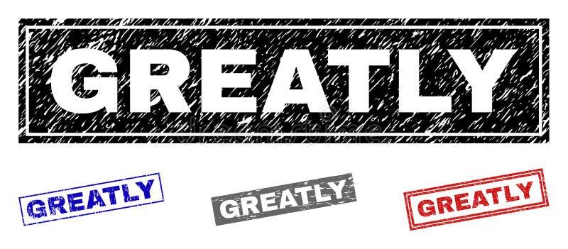 Grunge ЗНАЧИТЕЛЬНО поцарапал печати прямоугольника бесплатная иллюстрация