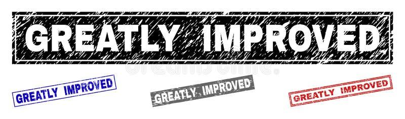 Grunge ЗНАЧИТЕЛЬНО УЛУЧШИЛ текстурированные печати прямоугольника иллюстрация штока