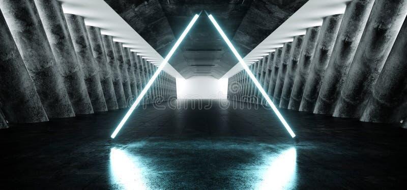 Grunge конкретный длинный Hall Sci Fi отражения лазерных лучей дневного неона иллюстрация вектора