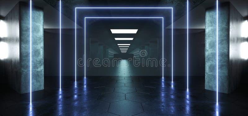 Grunge конкретный длинный Hall Sci Fi отражения лазерных лучей дневного неона иллюстрация штока