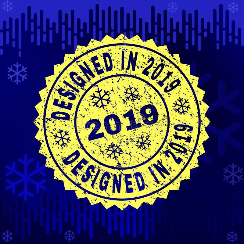 Grunge КОНСТРУИРОВАЛ В уплотнении 2019 печатей на предпосылке зимы бесплатная иллюстрация
