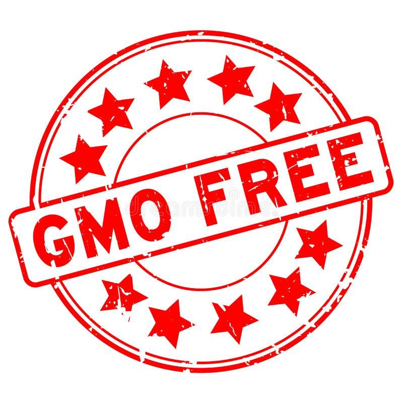 Grunge красный GMO свободный с избитой фразой значка звезды на белой предпосылке бесплатная иллюстрация