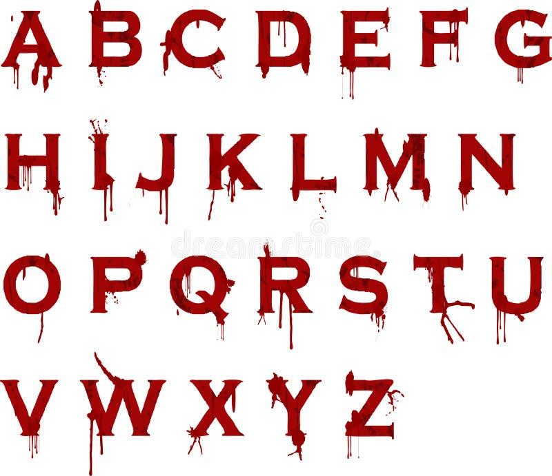 grunge крови алфавита иллюстрация штока