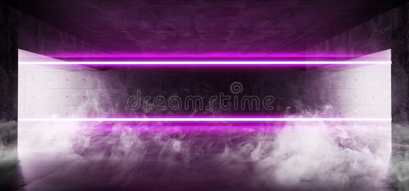 Grunge лазерных лучей пурпура тумана пара дыма комната тоннеля Refletcions пустого элегантного неонового дневного современного те бесплатная иллюстрация