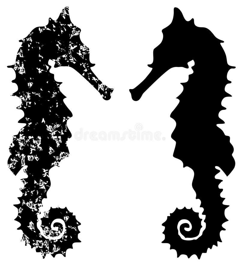 Grunge лошади моря иллюстрация штока