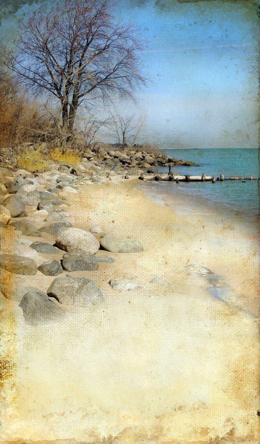 grunge пляжа предпосылки утесистое стоковое фото
