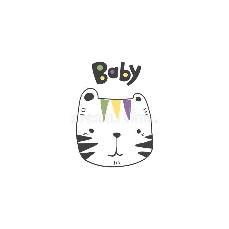 Grunge произвел эффект милый покрашенный чертеж головы тигра как вектор с литерностью младенца нарисованной рукой милая иллюстрац иллюстрация штока