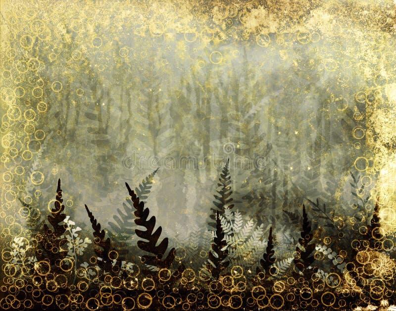 grunge рамки папоротника иллюстрация штока