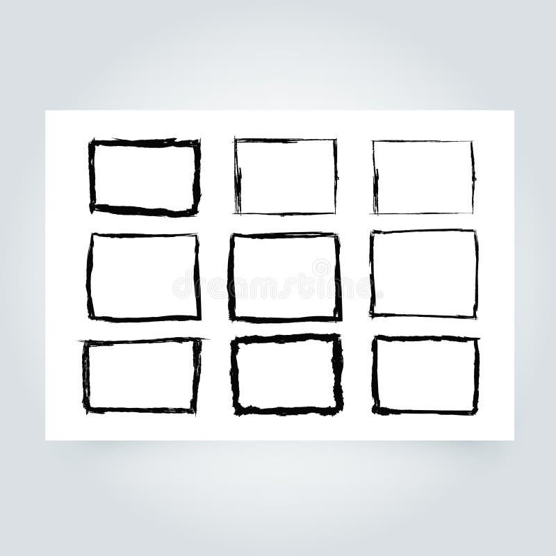 grunge рамки Предпосылка границы Grunge абстрактный вектор шаблона иллюстрация штока
