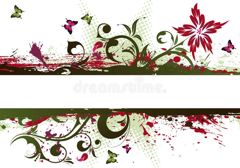 grunge рамки цветка иллюстрация штока