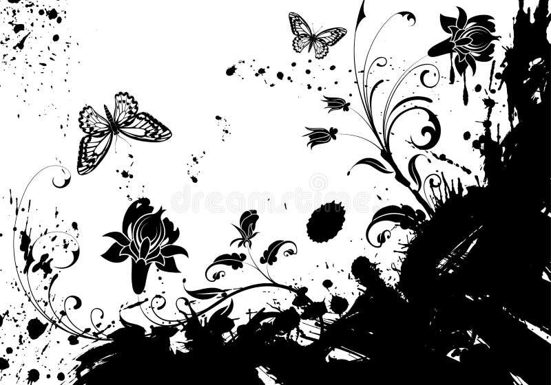 grunge рамки цветка иллюстрация вектора