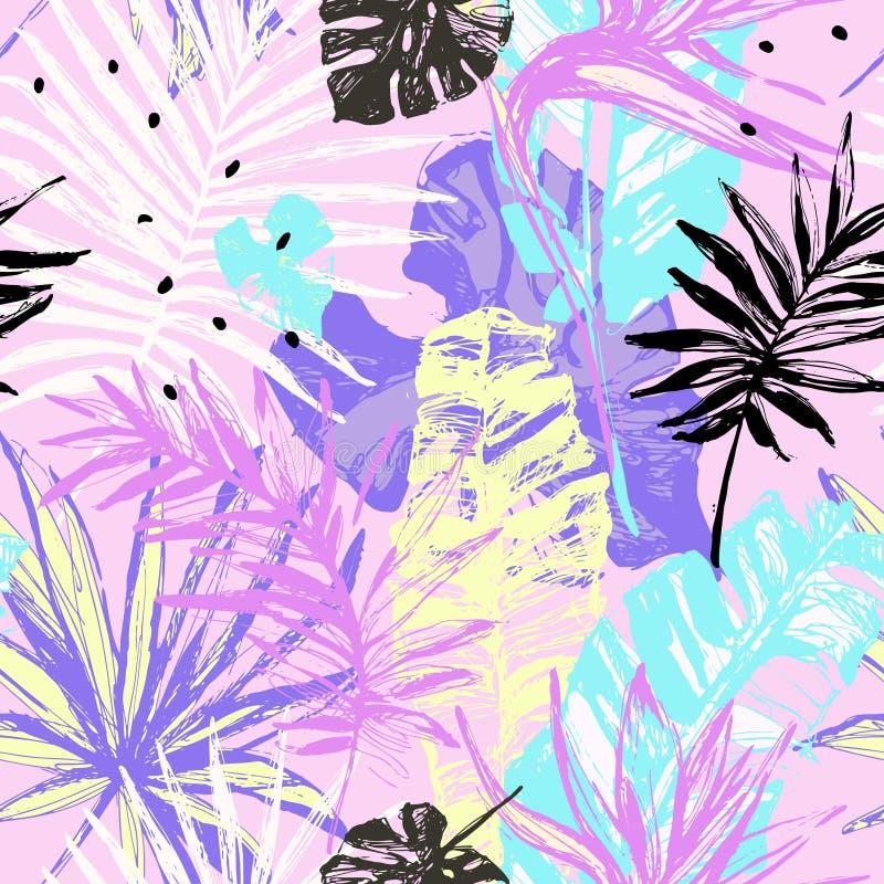 Grunge руки вычерченный текстурировал картину тропических листьев безшовную иллюстрация штока