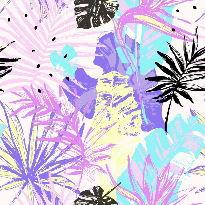 Grunge руки вычерченный текстурировал картину тропических листьев безшовную бесплатная иллюстрация