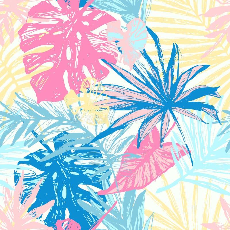 Grunge руки вычерченный текстурировал картину тропических листьев безшовную иллюстрация вектора