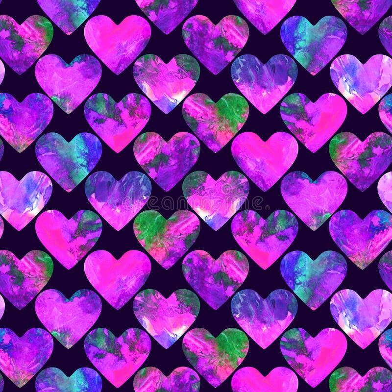Grunge сердец абстрактный красочный брызгает палитру текстуры розовую и зеленую иллюстрация штока
