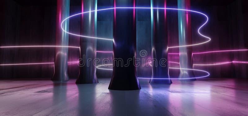 Grunge столбца фантазии космического корабля чужеземца Hall неоновых свет синь пурпура лазерных лучей подземного гаража тоннеля к иллюстрация вектора