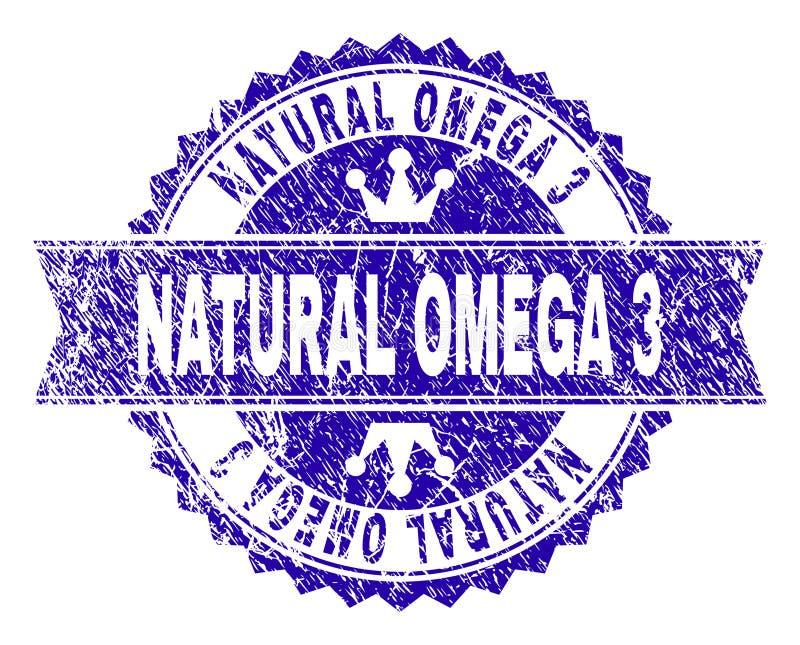 Grunge текстурировал ЕСТЕСТВЕННОЕ уплотнение печати ОМЕГИ 3 с лентой иллюстрация штока