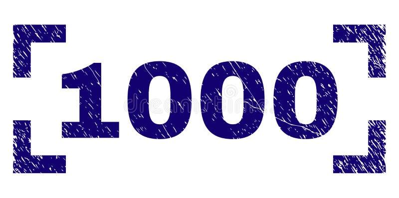 Grunge текстурировал уплотнение 1000 печатей между углами иллюстрация вектора