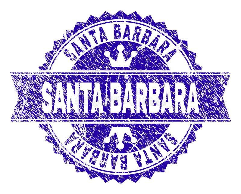 Grunge текстурировал уплотнение печати САНТА-БАРБАРА с лентой бесплатная иллюстрация