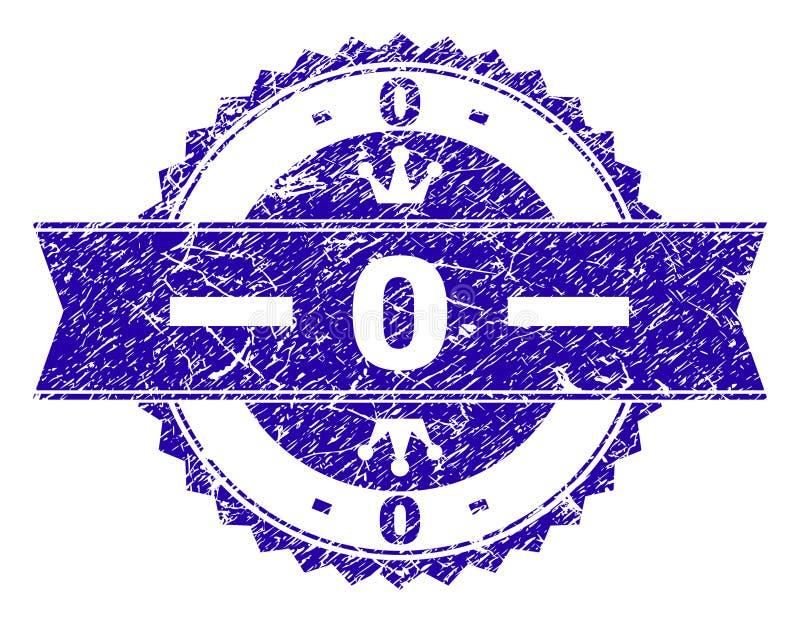 Grunge текстурировал 0 уплотнений печати с лентой иллюстрация вектора