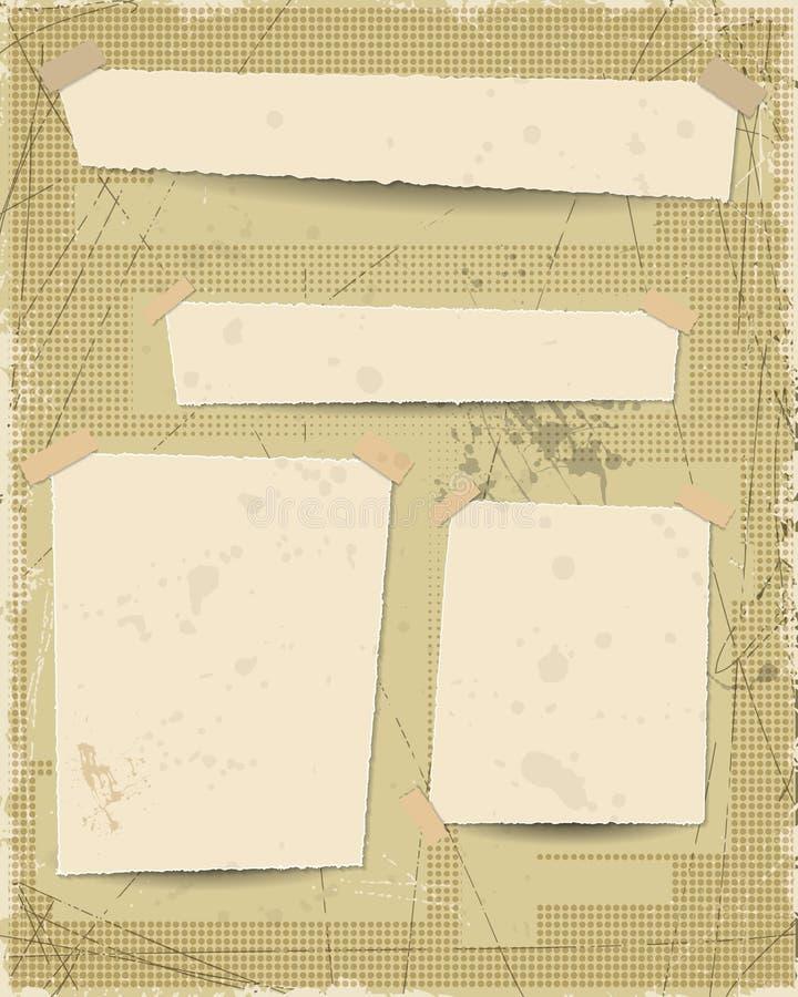 Grunge текстурировал предпосылку с старым винтажным бумажным пустым пространством для места ваш дизайн текста иллюстрация штока