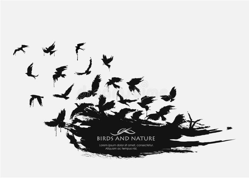 Grunge текстуры Brushstroke с летать птиц бесплатная иллюстрация