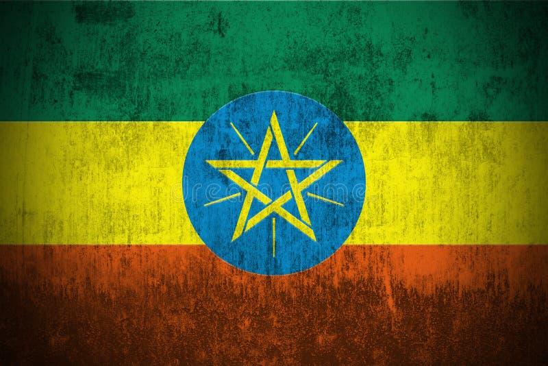 grunge флага эфиопии иллюстрация вектора
