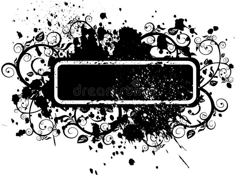 grunge цветков предпосылки черное иллюстрация вектора
