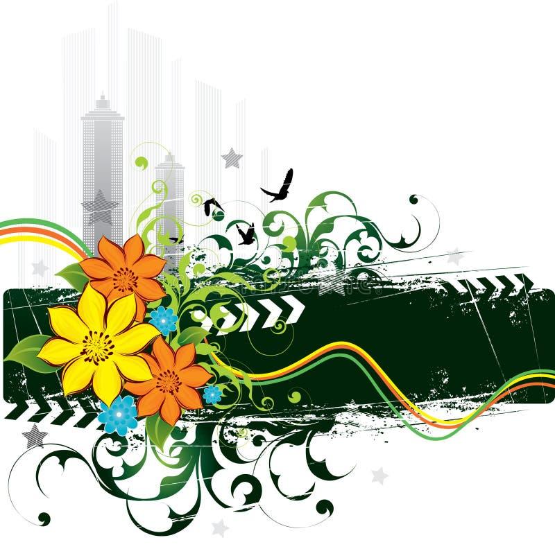 grunge цветков птиц урбанское иллюстрация штока