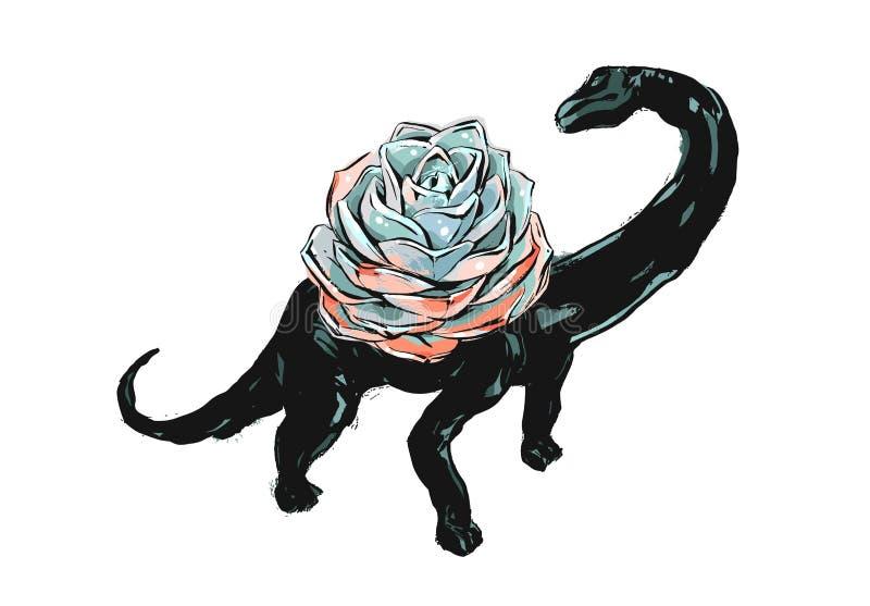 Grunge щетки чернил конспекта вектора руки вычерченный рисуя текстурированный суккулентный цветок кактусов в баке dino изолирован бесплатная иллюстрация