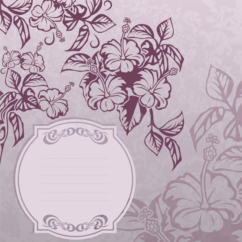 Grunge ярлыка гибискуса иллюстрация вектора