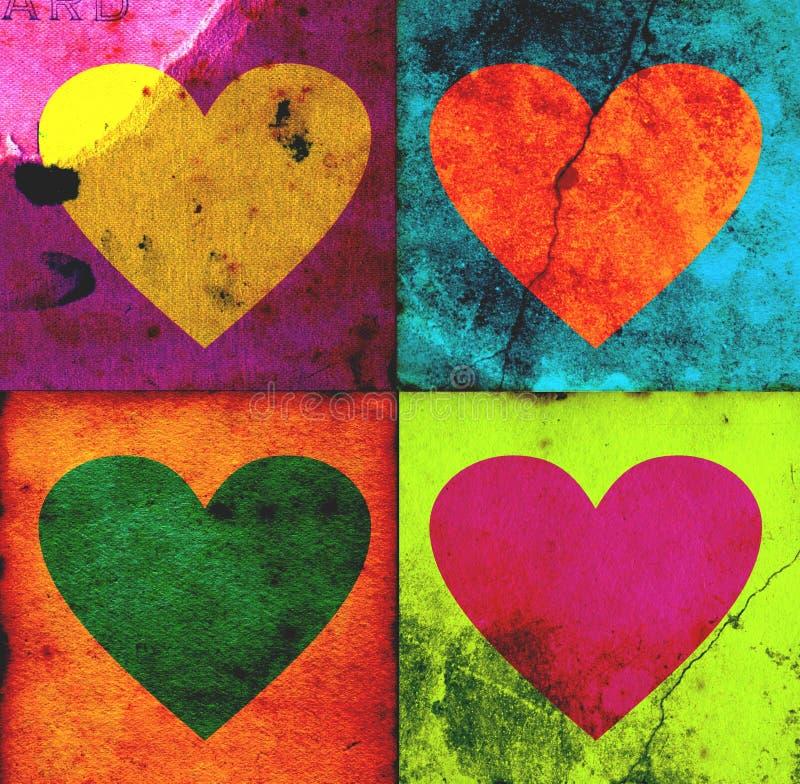 grunge 4 serca ilustracji