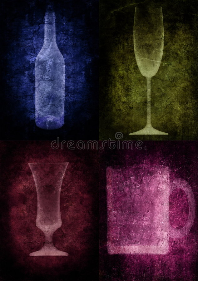 Grunge Abbildung mit Flasche und Gläsern stock abbildung