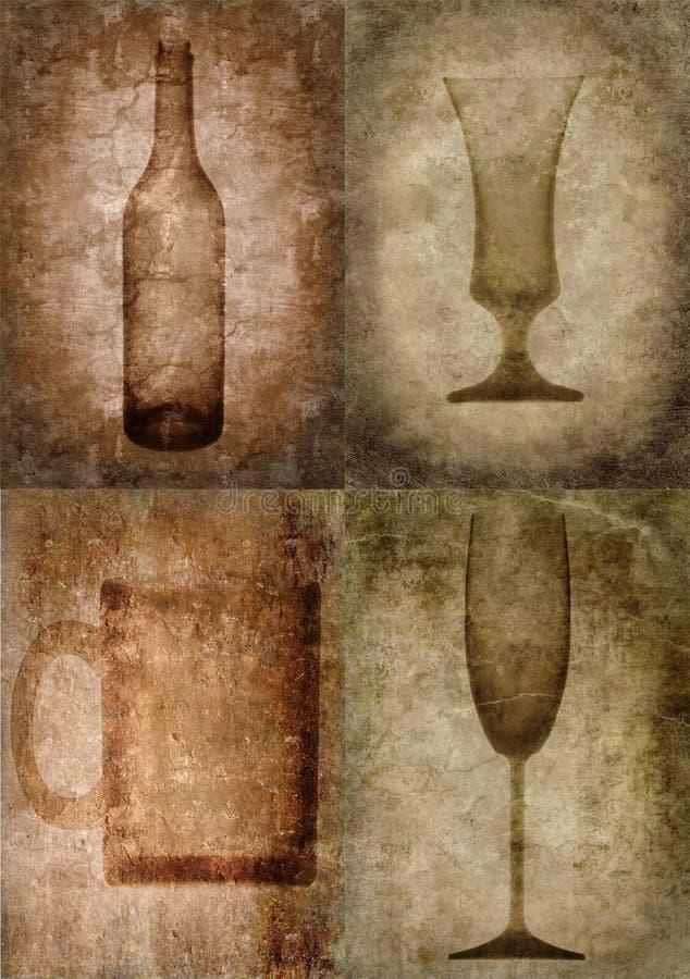 Grunge Abbildung mit Flasche und Gläsern lizenzfreie abbildung