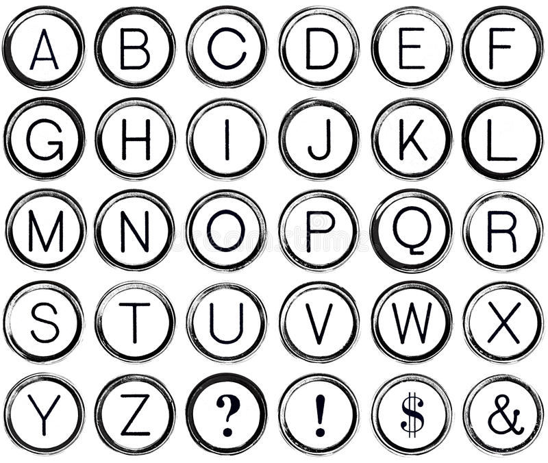 Grunge abecadło od rocznika maszyna do pisania kluczy ilustracja wektor