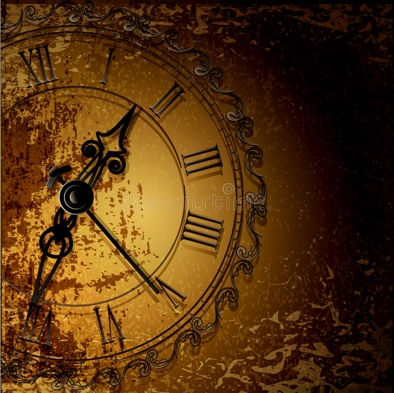 grunge abstract background with antique clocks vector illustration