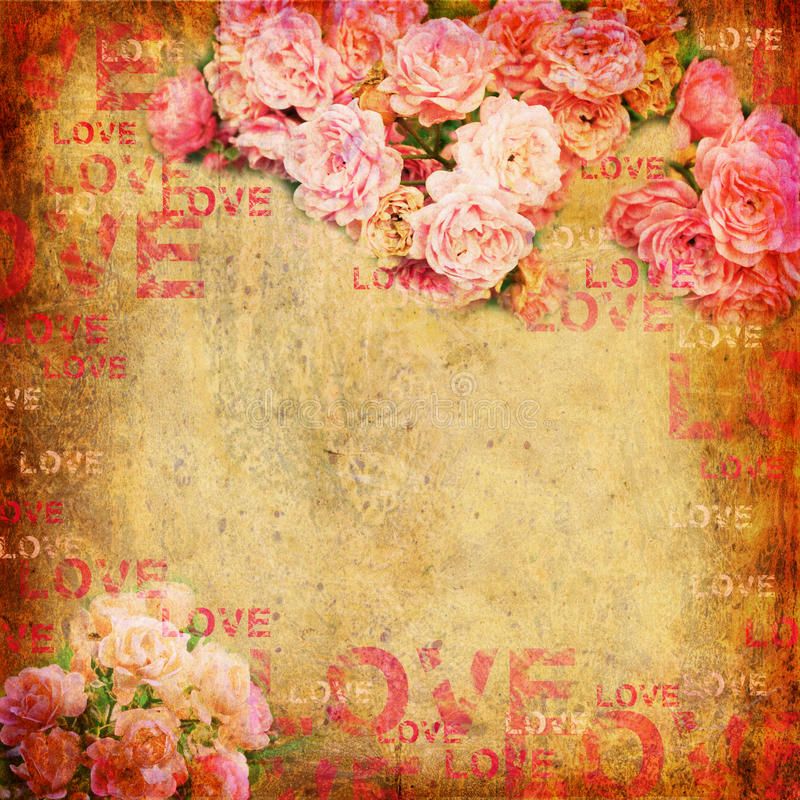 Grunge abstract background with roses royalty free illustration