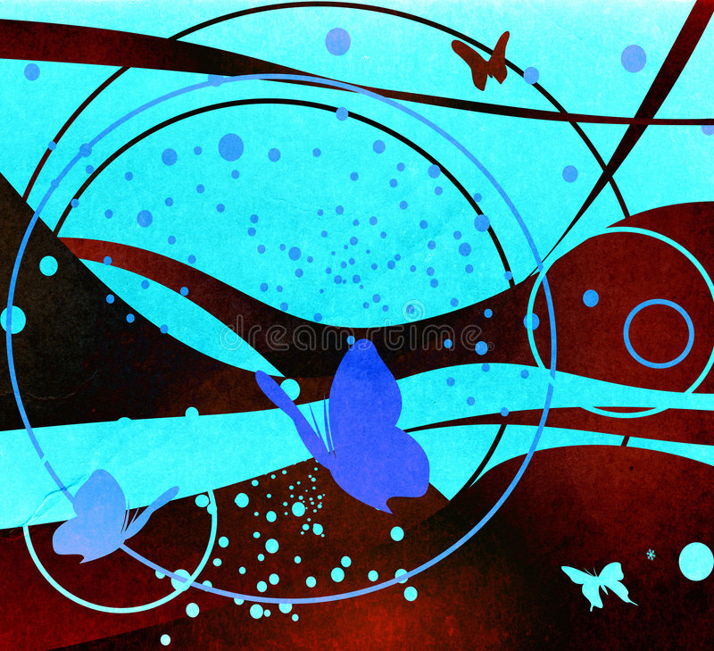 Grunge abstract design. With butterfly, circles and wind waves stock illustration