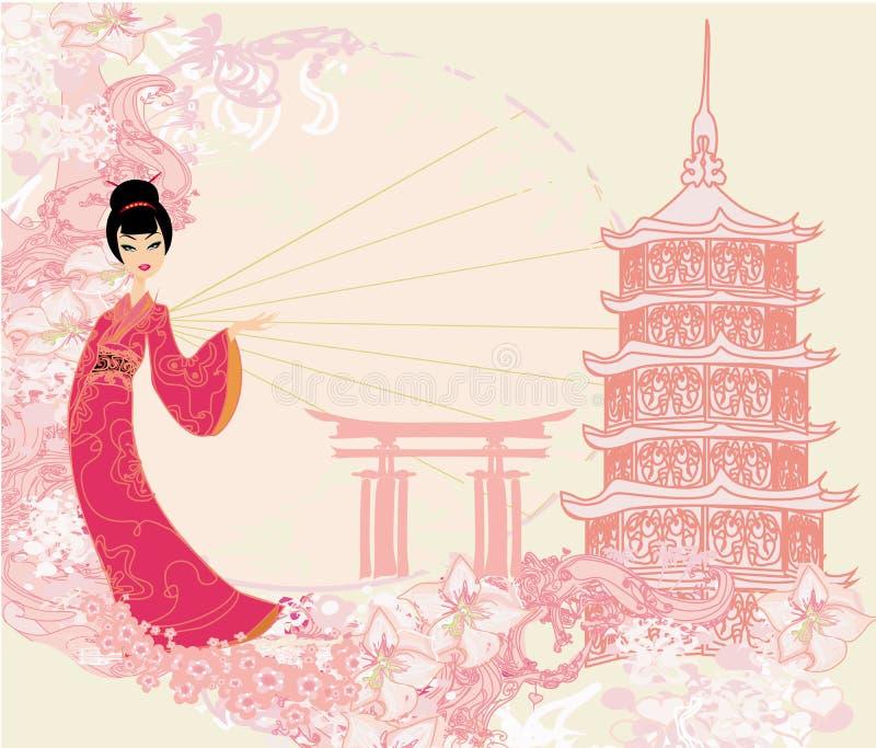 Grunge abstract landschap met Aziatisch meisje royalty-vrije illustratie