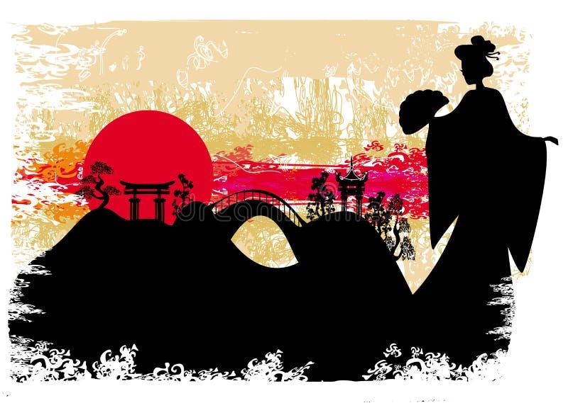 Grunge abstract landschap met Aziatisch meisje stock illustratie
