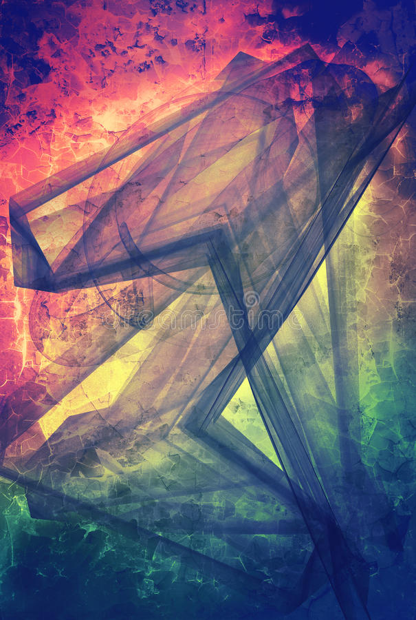Grunge abstract textured mixed media collage, art stock illustration