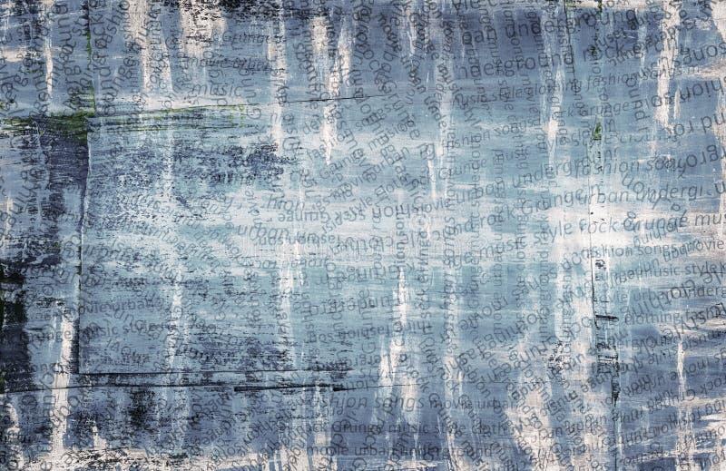 Grunge abstracte stedelijke collage, gescheurd document met brieven op gekraste en geschilderde achtergrond stock illustratie