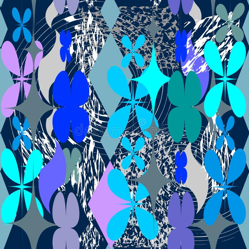 Grunge abstrakcjonistyczny geometryczny wektorowy bezszwowy wzór Kwiecisty grungy royalty ilustracja