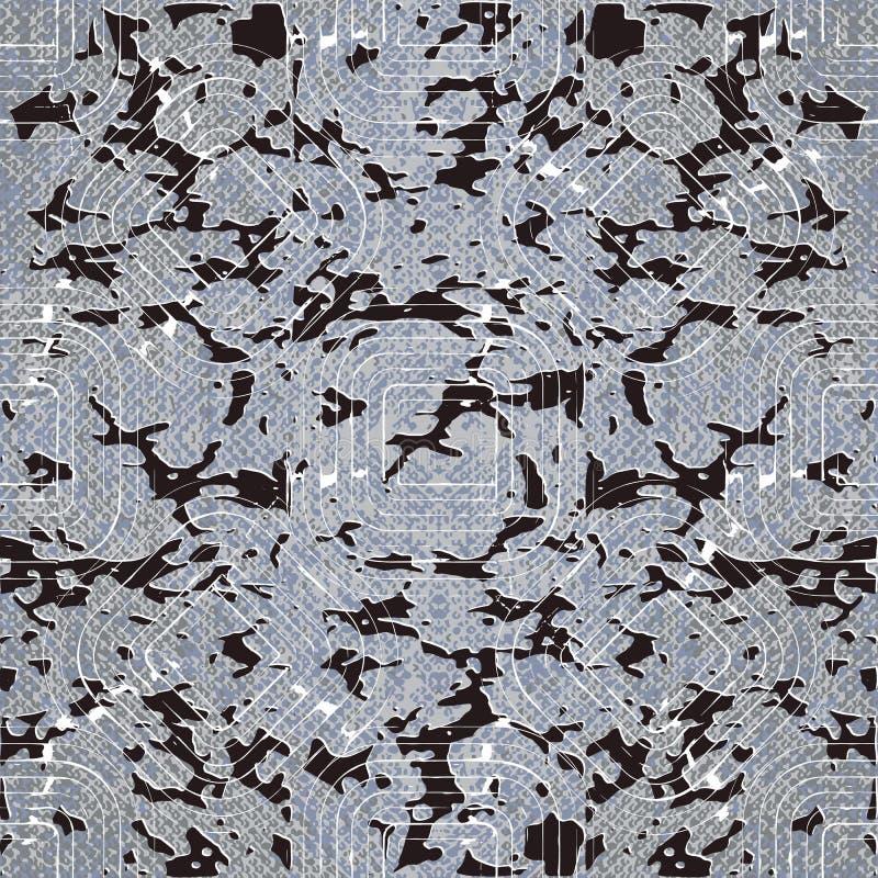Grunge abstrakcjonistyczny geometryczny wektorowy bezszwowy wz?r Textured ornamentacyjny brudny tło Nowożytnej powtórki łaciasty  ilustracja wektor