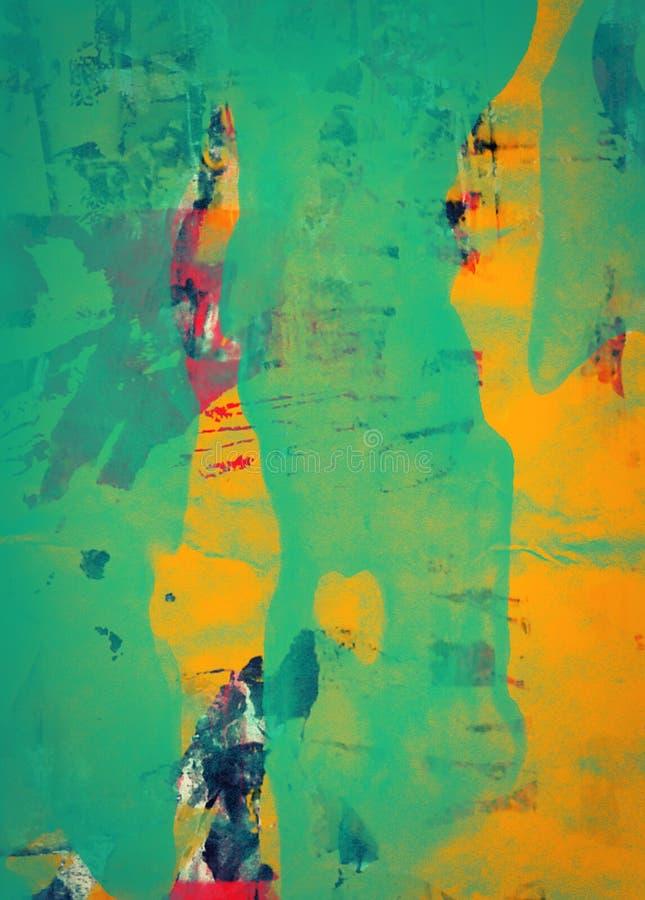 Grunge abstrakt textured mieszanego medialnego kolaż, sztuka ilustracja wektor
