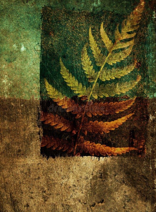 Grunge abstrakter Hintergrund mit Farnblatt stockbilder