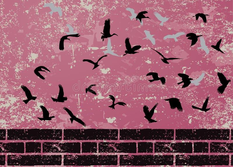 Grunge abstrakter Vogel-Schattenbildraster vektor abbildung
