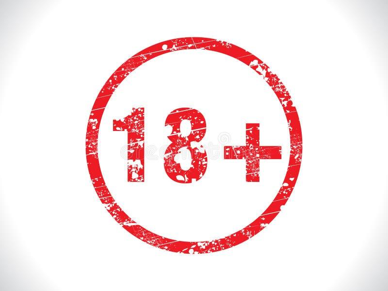 Grunge abstrato do Tag 18+ ilustração stock